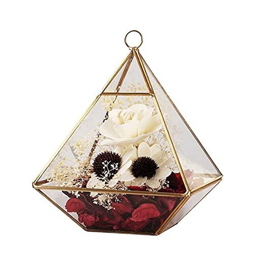 Chytaii - Joyero de cristal de balancín, anillos, pendientes, pendientes, collar, caja transparente decorativa, caja expositor de maquillaje