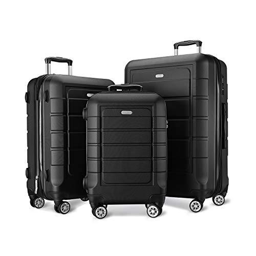quality luggages SHOWKOO Luggage Sets Expandable PC+ABS Durable Suitcase Double Wheels TSA Lock Black 3pcs