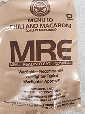 LoJo Surplus 2021 Genuine Military MRE Meals Ready to Eat with Inspection Date 2021 or Newer (Chili and Macaroni)