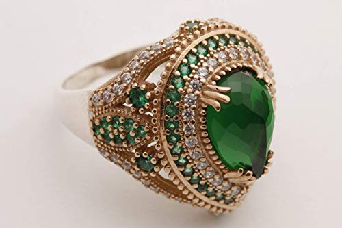 Turkish Ottoman Style Sultan's Collection Jewelry Drop Shape Pear Cut Emerald and Round Cut Topaz 925 Sterling Silver Ring Size All