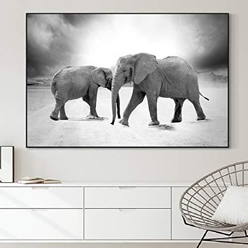 BailongXiao Schwarzweiss-Tier afrikanisches wildes Tierelefant-Leinwanddrucktierplakat und Wanddekoration,Rahmenlose Malerei,50x75cm