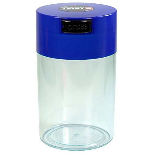 Tightvac - 1 oz to 6 ounce Vacuum Sealed Storage Container - Dark Blue Cap & Clear Body