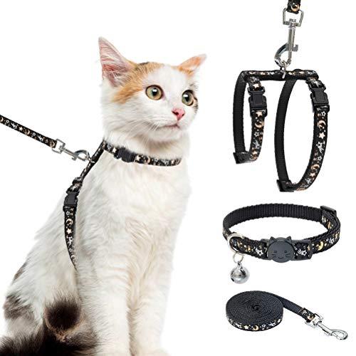 Katzengeschirr mit Leine und Halsband Set – ausbruchsicher, verstellbar, H-shped Katzengeschirr mit Stern und Mond Muster, leuchtet im Dunkeln, für Kitty Outdoor Walking
