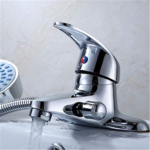 DHKJ Lavabo De Doble Orificio De Latón Con Grifo De Ducha De Agua Caliente Válvula Mezcladora De Lavabo Multifunción
