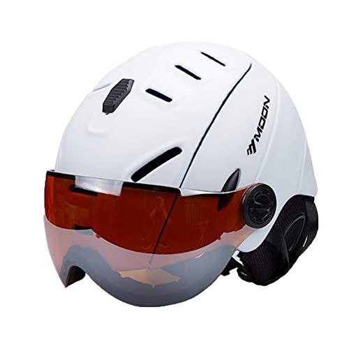 EnzoDate 2-en-1 Visière Ski Casque De Snowboard Détachable Masque À Neige Anti-buée Anti-UV Intégré Goggle Bouclier Faible Poids Adultes Hommes Femmes