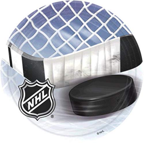 Amscan 553834 NHL Ice Time! Collection 9' Round, 8 pcs, Party Plates