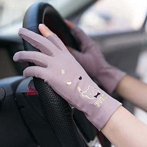 JFASJ Driving Sun Handschuhe Frau UV-beständig Dünner Sommer-Baumwolltau Zwei-Finger-Zwei-Finger-Touchscreen Kurzes Radfahren, atmungsaktiv