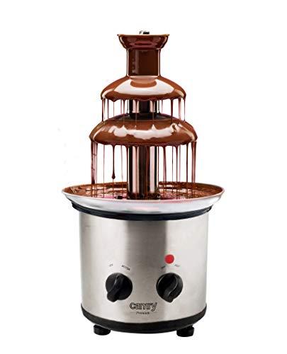 CAMRY CR 4488 Schokoladenbrunnen aus Edelstahl mit 3 Etagen, Höchsttemperatur: 60°C, Schokofondue mit Wärmefunktion-Kontrolllämpchen, Schokobrunnen
