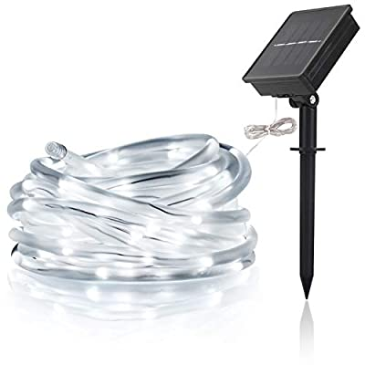 LTE LIGHTING EVEN LTE Solar Powed RGB 100 LED Rope Lights, Outdoor Waterproof, Light Sensor, 33ft, 8 Lighting Modes, Ideal for Decorations,Christmas,Thanksgiving, Garden, Lawn, Patio, Wedding, Party