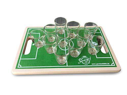 Geschenkbox Schnapsbrett Holzbrett Fußball Beer Pong mit 11 Gläsern 30x20x1,7 cm, grün, aus Buche