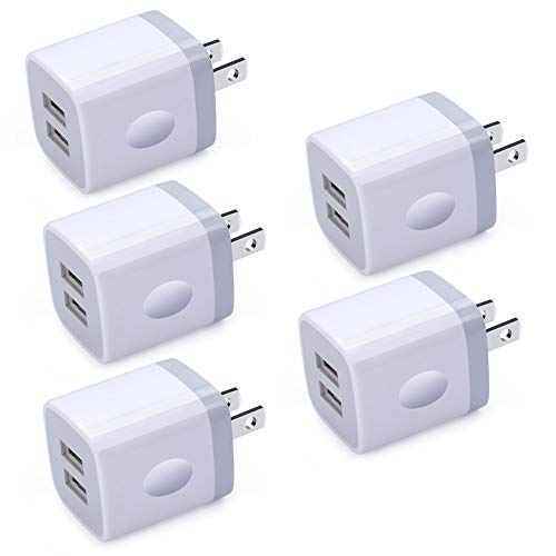USB Wall Charger, Charging Block, Ououdee 5Pack 2.1A Quick Dual Port Plug Charger Box Cubes Compatible for iPhone XS Max/XR/X/8/7/6/6s, Samsung Galaxy S10e S10 S9 S8 Plus/S7 S6 Edge Note 9/8, LG G8 G7