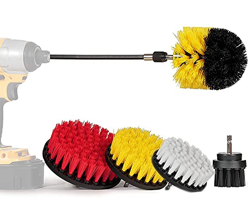 SEGURCARS | Kit de 5 cepillos multiusos para taladro electrico, Limpieza de tapicerías, automóvil, náutica, llantas de aluminio, sofas, moquetas etc