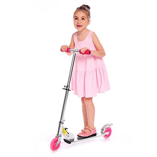 AMDirect Patinete Plegable con 2 Ruedas Luces Led Manillar Ajustable en Altura Patín Scooter para Niños 6 Años en Adelante (Tipo2 Rosa)