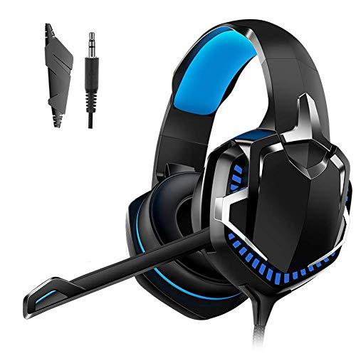 Auriculares de juego de gama alta, PS4 / PC / Tableta / Comportero, Auriculares Estéreo sobre oreja, Bajo Cancelación de ruido de micrófono 3.5mm, 7 orejeras de memoria suave LED (Color: Negro) jianyo