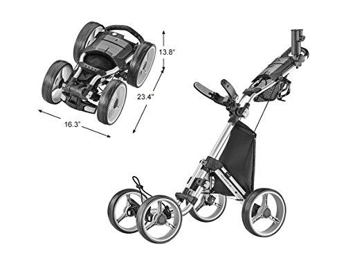 Buy CaddyTek 4 Wheel Golf Push Cart - Compact, Lightweight, Close Folding Push Pull Caddy Cart Troll...