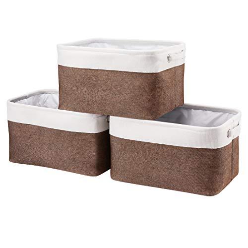 i BKGOO Foldale Aufbewahrungskorb mit 2 Griffen 3er-Set Aufbewahrungsbehälter für die Organisation des Regals Kindergartenheim Weiß-Braun 36,5 x 26 x 20 cm