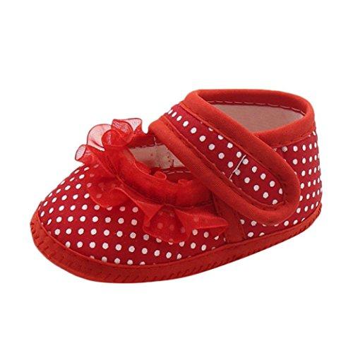 Chaussures de Toile pour bébé Nouveau-né, IMJONO Baby Boys Filles Doux Semelle Prewalker Chaud Casual Flats Chaussures (9-12 Mois, Rouge -3)