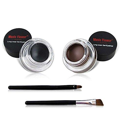 AKAAYUKO Lot de 2-in-1 Waterproof Maquillage Yeux Eyeliners Gel Beauté Outil Marron et Noir -Marron Noir