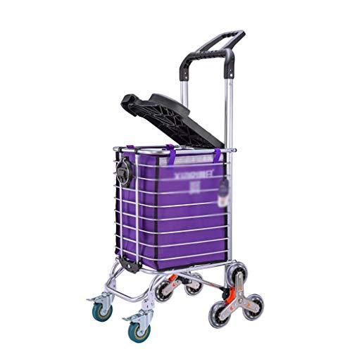 DZX Handwagen Großer Einkaufswagen mit Rädern, zusammenklappbarer Einkaufswagen mit Abnehmbarer wasserdichter...