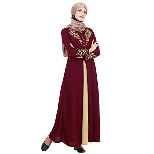 Meijunter Muslimisches Kleid für Damen - Golddruck Kleider Arabisches Langarm Abaya Ethnisches Kostüm Dubai Kaftan für Ramadan Rot M