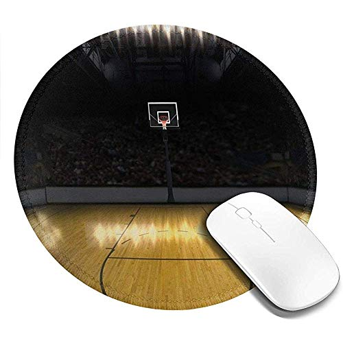Ronde muismat, Lege Basketbal Arena Competitie Spel Win Cham-pion Succes Thema, Antislip Gaming Mouse Mat