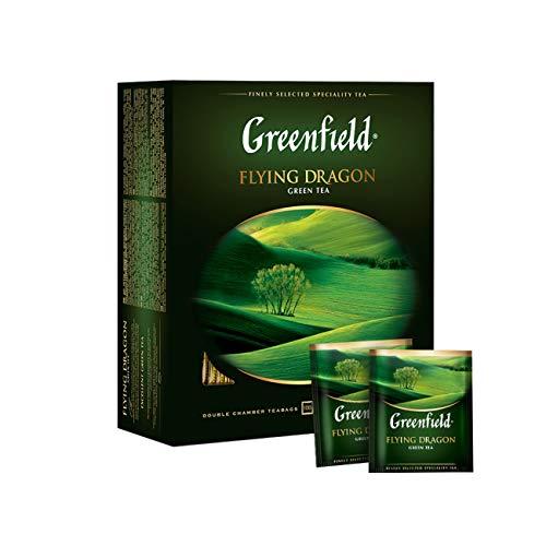 Greenfield Flying Dragon, 100% reiner grüner Tee, NATÜRLICHE Chinesischer Grüner Tee, enthält Koffein, Keine künstlichen Aromen oder Zusatzstoffe, Gluten-frei, Pure Green Tea, China, tea bags, 25 Teebeutel (100 x 2g), 200g [100 Tassen]