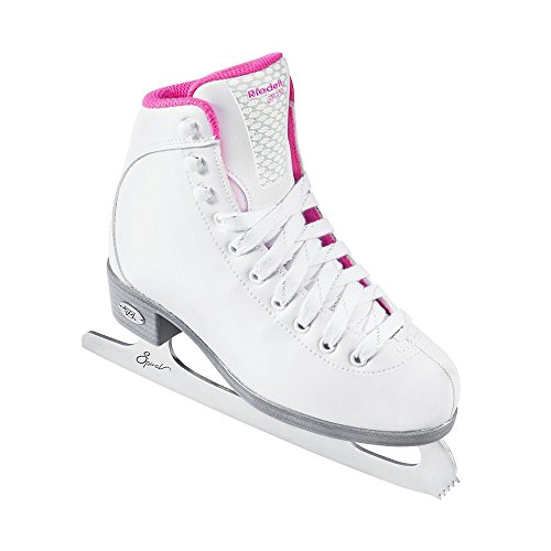 Riedell Skates - 18 Sparkle Jr. - Youth Beginner Soft Figure Ice Skates with Steel Blade for Girls | White | Size 12 Youth