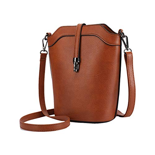 seOSTO Crossbody Bags for Women, Small Leather Bucket Crossbody Bag, Womens Vegan Bag/Bucket Purses/Handbags/Shoulder Bags (update-Brown)