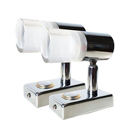 LIGHTEU, 2x 12V 3W A2 plafond- / wandspot, verchroomd, leeslamp draai- en zwenkbaar met aanraakschakelaar dimbaar warm wit/blauw licht voor jacht, caravan, camper