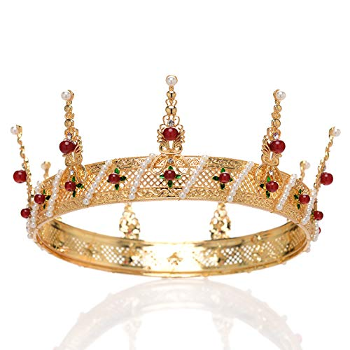SWEETV Unisex Gold King Crown for Men, Baroque Queen Crown for Women - Royal Pageant Crown for Photograph, Theater, Costume Parties Hair Accessories with Pearl