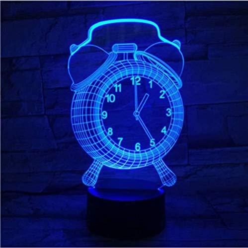 Tatapai Luces nocturnas para niños, lámpara de ilusión 3D, reloj despertador óptico con control remoto táctil, 7 colores cambiantes, decoración de dormitorio, regalo para niños o niñas