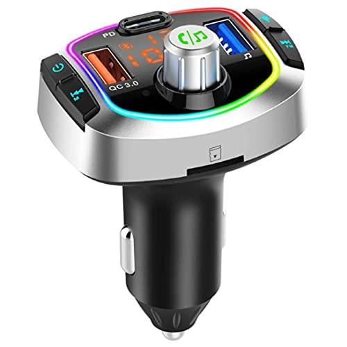 Zhou-YuXiang Coche inalámbrico con retroiluminación LED MP3 TF/U Reproductor de Disco Manos Libres Kit de Coche Adaptador Dual USB QC 3.0 + PD Tipo C Cargador rápido Transmisor FM