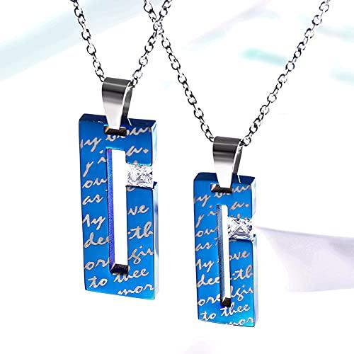 2Pcs 316L Rectángulo de Acero Inoxidable Azul Amor Zircón Collar para Hombres y Mujeres, Pareja San Valentín Promesa Colgante, Regalo de Amuleto de La Suerte