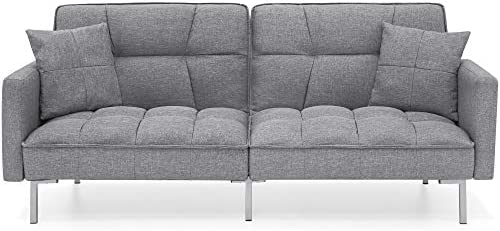 Best Best Choice Products Living Room Convertible Linen Fabric Tufted Splitback Futon Couch Furniture w/P