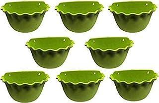 ΣaglesFord Plastic Wall Mounted Balcony Platinum Planter Pots (9 inch, Green, Pack of 8) Plant Container (Plastic, Externa...