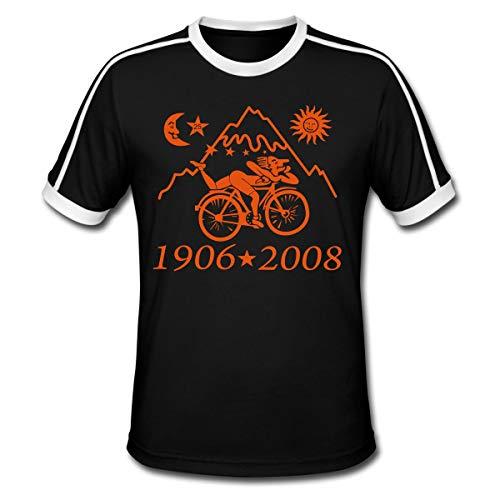 LSD Albert Hofmann 1906 2008 Fahrrad Männer Retro-T-Shirt, L, Schwarz/Weiß
