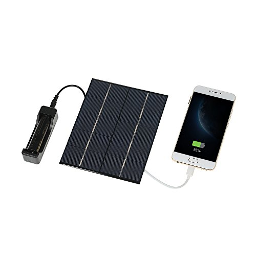 Decdeal 3.5W 5V Solar Ladegerät Solarpanel USB Solarladegerät und mit DC-Kabel für 18650 Batteriehalter