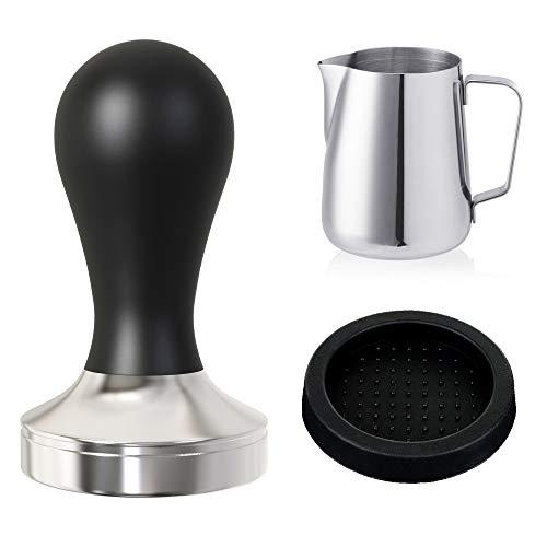 Practimondo 51mm Espresso Tamper Set inkl. Tampermatte und Milchkännchen (350ml) - Der Deluxe Kaffeemehlpresser für Siebträger Kaffeemaschine - Premium Barista Edelstahl Kaffeedrücker Espresso-Stempel