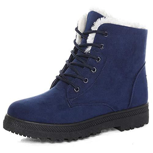 Susanny Suede Flat Platform Sneaker Shoes Plus Velvet Winter Women's Lace Up Blue Cotton Snow Boots 8.5 B (M) US