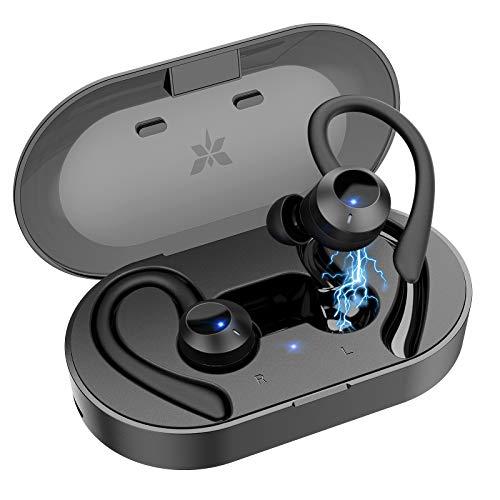 Axloie Bluetooth Kopfhörer Sport IPX7 Wasserdicht Sport Kopfhörer kabellose In Ear 25 Stunden Spielzeit HiFi Kopfhörer Sport Joggen mit Ladebox und Mikrofon für Laufen Training