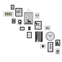 ブラック木製贈り物 フォトフレーム16枚セット、4個の11.6x15.5cm、 7個の15.7x20.8cm、 2個の23x28cm、 1個の27.6x37.6cm、 2個の18x33.2cm、写真飾り 壁掛け ペーパーフォトフレームリビングルームの家の装飾ギャラリー大