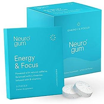 Neuro Gum Energy and Focus | Nootropic Caffeine + L-theanine + B Vitamins | Sugar Free + Gluten Free + Non GMO + Vegan | Peppermint Flavor  54 Count