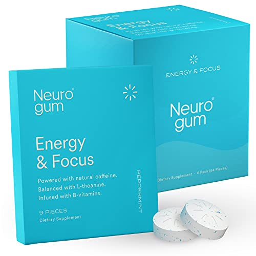 Neuro Gum Energy and Focus   Nootropic Caffeine + L-theanine + B Vitamins   Sugar Free + Gluten Free + Non GMO + Vegan   Peppermint Flavor (54 Count)