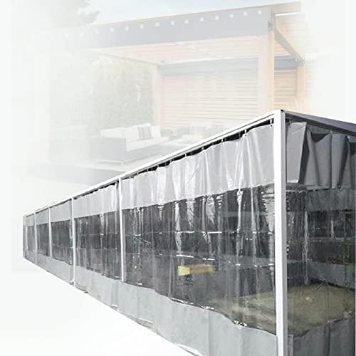 ZWYSL Cortina Al Aire Libre,Lona Impermeable PVC 600g/㎡Parabrisas Jardín Se Utiliza para Exteriores,Jardín,Garaje,Balcón,Pérgola,con Ojal (Color : Clear Gray, Size : 5.6x2.7m)