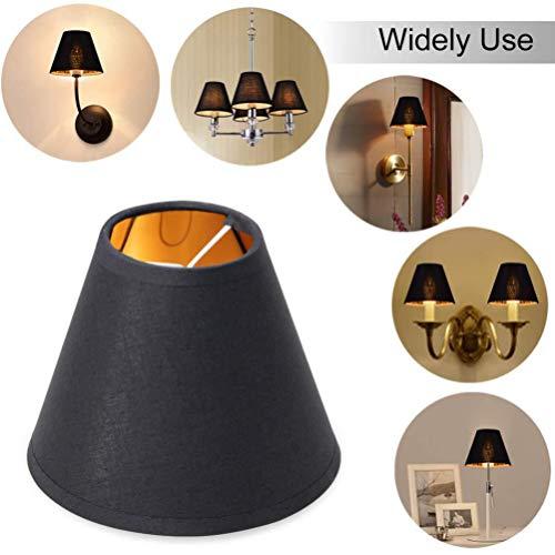 Mobestech Lampenschirme aus Stoff zum Aufstecken Lampenschirme für Kronleuchter Tischlampe Wandlampe Schwarz