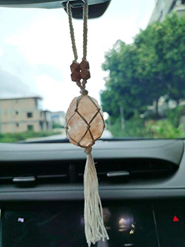 Handmade Raw Himalayan Salt Car Accessories Car Charm Rear View Mirror Car Ornament Gift for Her