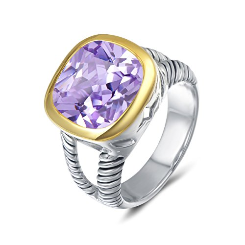 UNY Ring Twisted Cable Wire Designer Inspired Fashion Brand David Vintage Love Antique Women Jewelry Gift (Purple, 7)