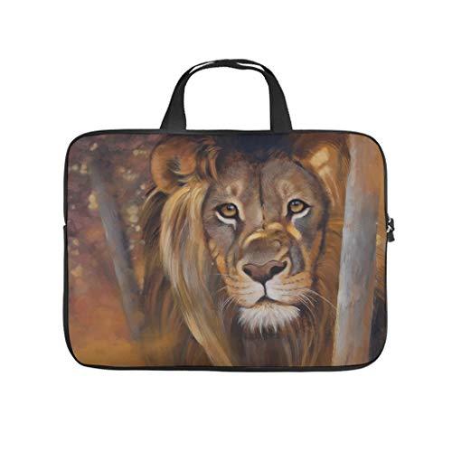Facbalaign Funda para portátil con diseño de tigre y león, resistente a los arañazos con asa.