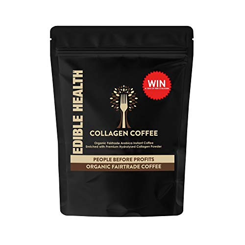Edible Health Premium Collagen Coffee with Hydrolysed Bovine Collagen and Organic Arabica Coffee from The Makers of Edible Health Collagen. Paleo, Keto, Kosher, Halal. 225g Pouch, 37 Servings.