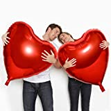 4 PCS Huge Heart Shaped Balloons, 32 Inches Romantic Large Red Foil Balloons for Engagement Wedding Valentines Day Anniversary Party Decorations